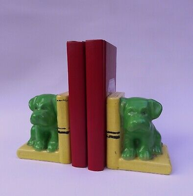 ***Hard to find***Antique Porcelain Terrier Puppy Bookends