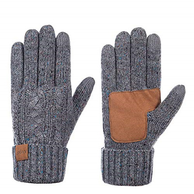 Winter Wool Warm Gloves For Women, Anti-Slip Knit Touchscreen Thermal Cuff With