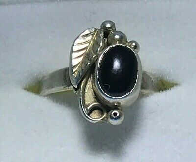Sterling Silver Black Onyx Ring - Size 4
