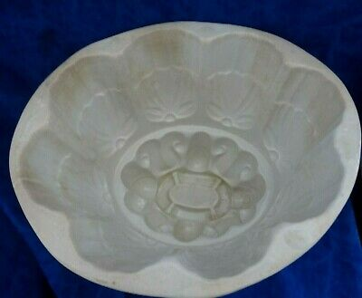 Antique Victorian Large Earthenware Jelly Mould/ Blancmange Heavy Thick Mould