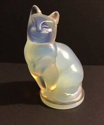 Sabino France Opalescent Art Glass Large 3 3/4 Inch Cat Figurine Signed