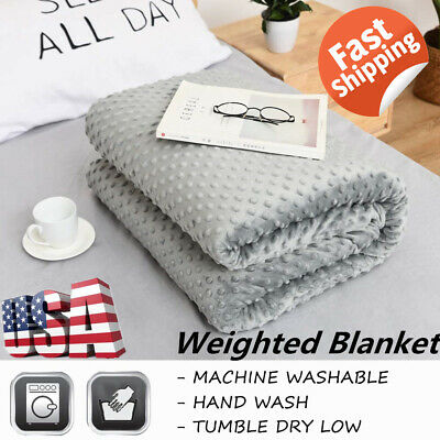 Premium Weighted Blanket Full Queen Size Reduce Stress Promote Deep Sleep US