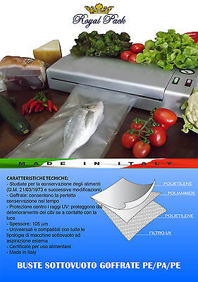 ROYAL PACK 100 SACCHETTI SOTTOVUOTO BUSTE GOFFRATE ALIMENTI 25x30