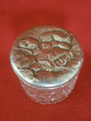 VINTAGE Antique CHERUB TOP Hall Marked Sterling Silver HOBNAIL CONTAINER Old..