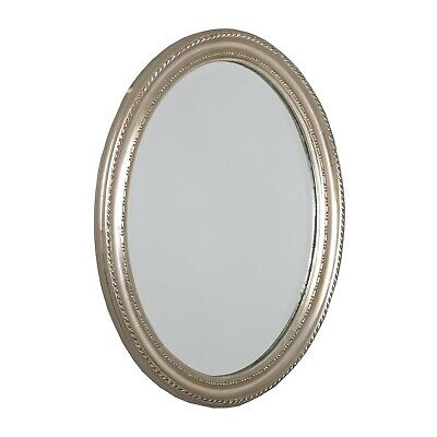 "BAROQUE STYLE OVAL WALL MIRROR | silver, 18.5""x14.5""x1.5"", wood 