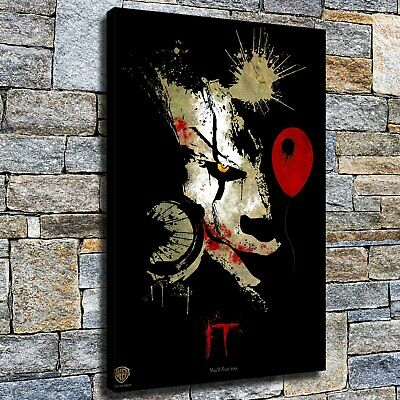 """12""""x18"""" Clown half-faced ink HD Canvas Picture Home Decor room Wall art painting"""