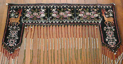 Old Hand Knotted Dowry Tribal Rug Doorway Hanging Animal And Flowers Bird