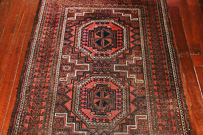 Antique Hand Knotted Balouchi Wool Pile Rug Circa 1920