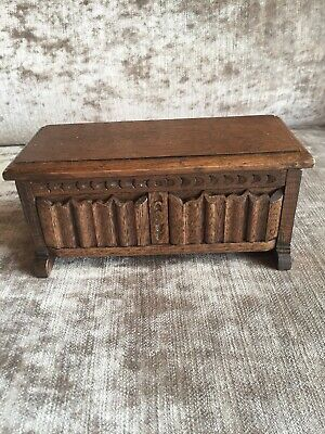 Vintage Miniature Oak Musical Tudor Chest