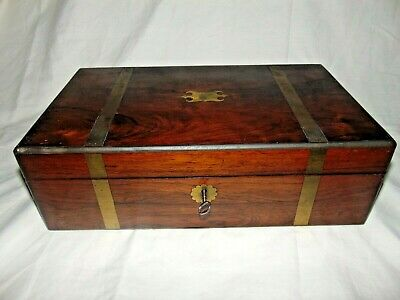 ANTIQUE 1800's BRASS BOUND ROSEWOOD CAMPAIGN TYPE WRITING SLOPE BOX with KEY