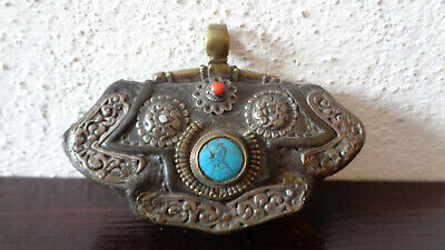 Antique Tibetan Purse with Brass and Silver fittings and Large Turquoise & Coral
