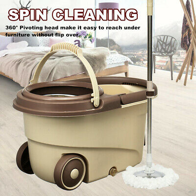 Home Cleaning Spinning 360° Spin Bucket with Adjustable Handle & 2 Mop Heads