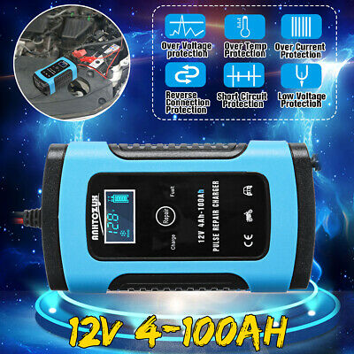 12V 6A Smart Intelligent Car Battery Charger Automobile Motorcycle LCD  @*