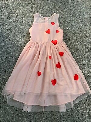 Girls 9-10 H&m Pink Red With Hearts Party Layered Net Drop Hem Dress