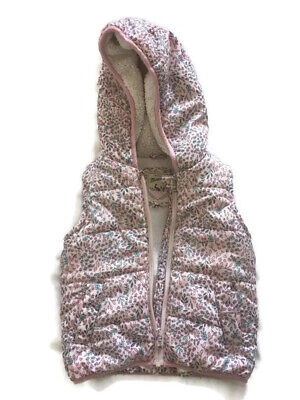 Mantaray Girls Floral Fleece Lined Hooded Body Warmer Gilet Age 2-3