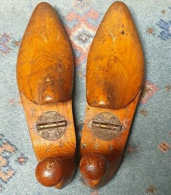 Vintage Pair Wooden Shoe Trees ~ Stamped Mark ~ Folding