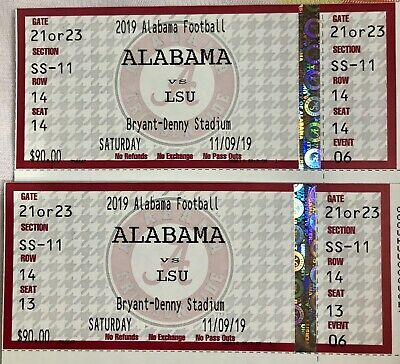 2 Alabama vs. LSU Football Tickets Section SS-11. We 14