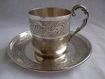 Antique French Sterling Silver Coffee Cup & Saucer,Louis 15 Style.