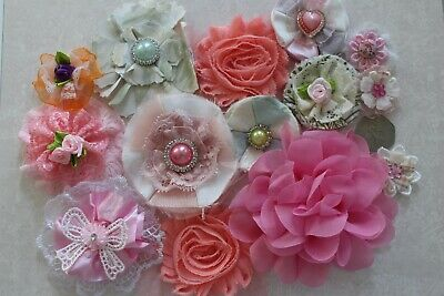 Fabric Flowers Shabby Chic Crafts Decor Embellishments Bundle x 3