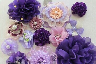 Fabric Flowers Shabby Chic Crafts Decor Embellishments Bundle x 2