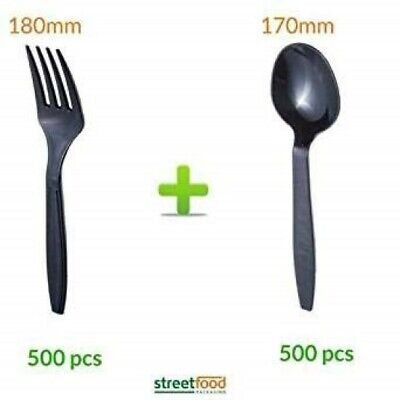 Black Plastic Cutlery Disposable Biodegradable Spoon Black Spoons and Forks