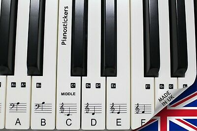 Stickers for 61 key Piano or Keyboard 36 white key clear laminated stickers