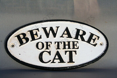 BEWARE OF THE CAT SIGN Cast Iron House Plaque Antique Style Wall or Gate