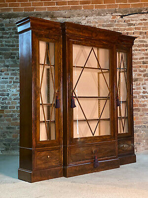 Antique French Flamed Mahogany Three Door Glazed Breakfront Display Cabinet
