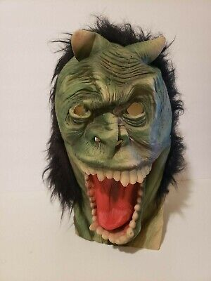 Vintage Halloween Mask Latex Rubber Green Monster with Horns Black Hair