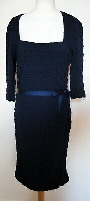 PHASE EIGHT Navy Blue Textured Stretchy Wiggle Pencil Dress 14-16 Party Evening