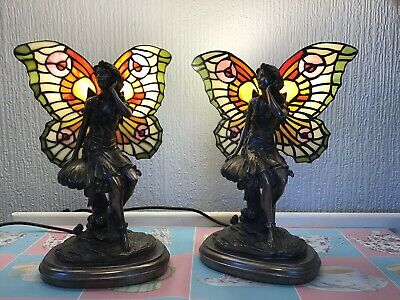 Pair Of Art Deco Tiffany Style Seated Fairy Lamps