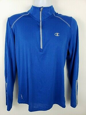 Mens Champion 1//4 Zip Long Sleeve Shirt Performance Blue Grey Pullover S M L XL
