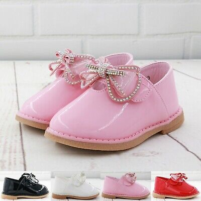 Kids Baby Infants Girls Diamante Bow Spanish Wedding Party Patent Toodler Shoes