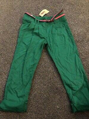 Next Girls Green Tapered Trousers With Pink Belt Age 8 Years BNWT