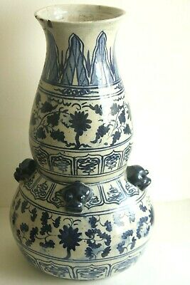 Chinese antique Ming Dynasty blue and white large double gourd vase