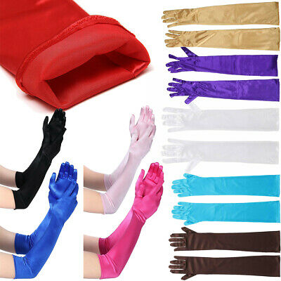Women's Stretch Satin Extra Long Gloves Wrist Elbow Opera Evening Party Costume