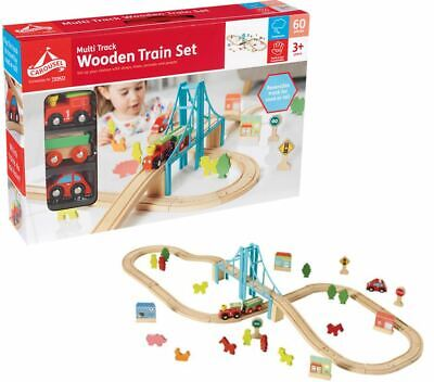 Carousel 2 In 1 Wooden Train & City Track Set 60 Piece Brio ELC Compatible NEW