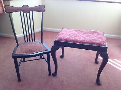 Vintage Mahogany Dressing Stool & Chair