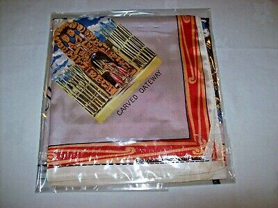 "Lady's Vintage c.1960  scarf from New Zealand -Souvenir Scenes -Acetate? 27"" Sq."