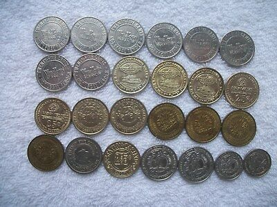 ~ Lot of 23 ~ Quarter & 2 ~ Nickel Used Mixed Casino Gaming Tokens