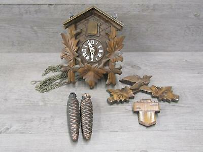Miniature Black Forest German Cuckoo Clock For Parts or Repair