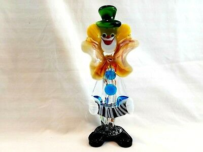 Vintage Murano Blown Glass Clown With Accordion Venetian Italy 9-3/4 Inches Tall