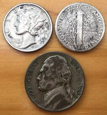 Three USA Wartime Silver Coins. Two Mercury Dime and Silver Nickel