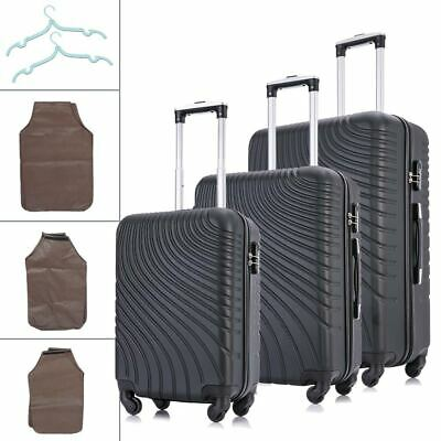 Black Set of 3 Luggage Set Travel Bag Trolley ABS Spinner Business Suitcase