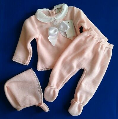 Baby Girls Spanish Romany Set Knitted Cardigan Jam Pants /& Cotton Blouse Outfit