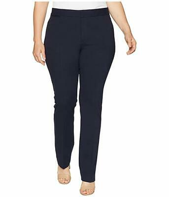 New $335 Nydj Plus Women Navy Blue Solid Ponte Stretchy Trouser Pant Size 24W