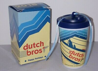 New DUTCH BROS Ornament 2018 Mini Coffee Cup brothers promotional xmas RARE