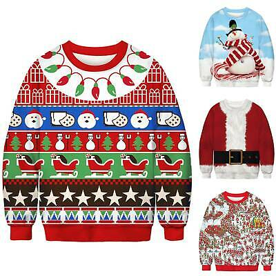 UGLY Christmas Sweater Sweatshirt Mens Womens Funny Xmas Jumper Pullover Tops US