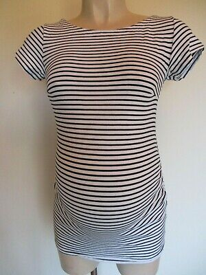 H&M Mama Maternity Black & White Striped T-Shirt Top Size M 12-14