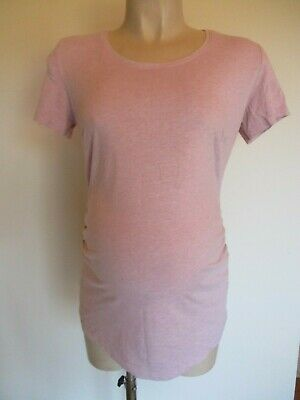 H&M Mama Maternity Pink Marl Ruched T-Shirt Top Size M 12-14